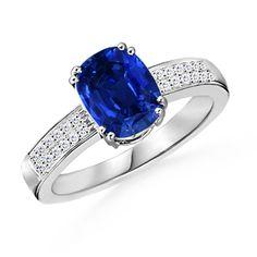 Cushion Sapphire and Round Diamond Ring