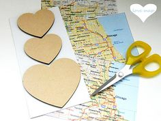 One year anniversary gift - #DIY #heart #map  #heartmap Step by step tips