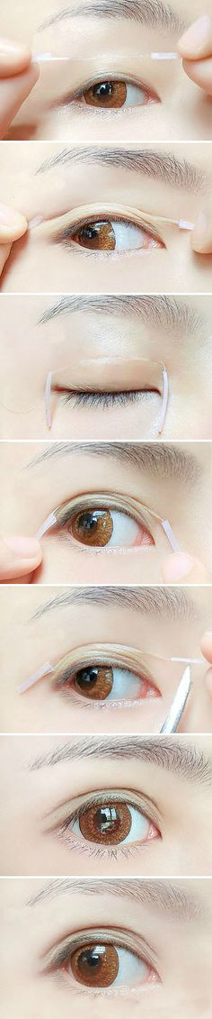 How to apply double eye lid tape #eyes #makeup #tips. love the shape of Asian eyes, not sure why you'd want to change it, very very beautiful the way you are. very popular in the Asian culture