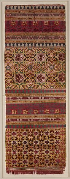 Textile Fragment Object Name: Fragment Date: 14th century Geography: Spain Culture: Islamic Medium: Silk; lampas Dimensions: Textile: L. 40 3/16 in. (102 cm) W. 14 5/16 in. (36.3 cm) Mount: L. 45 1/4 in. (114.9 cm) W. 19 3/4 in. (50.2 cm) D. 1 in. (2.5 cm) Classification: Textiles-Woven