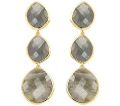 Nugget Cocktail Earrings in 18ct Gold Plated Vermeil on Sterling Silver with Labradorite   Jewellery by Monica Vinader