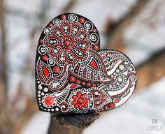 Hand painted wooden heart indian floral art gift  #mehendi #heart #valentines #indian #zentangle #doodle #mandala #wood