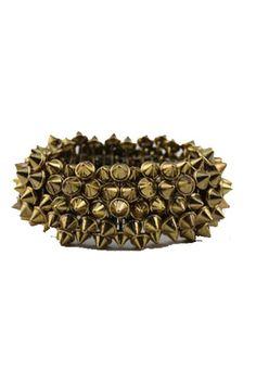 Wide Retro Punk Studded Elasticated Bracelet
