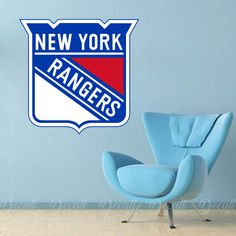 Ice Hockey Team New York Rangers Logo Sport Wall Sticker Sports Wall, Sports Logo, New York Rangers Logo, Wall Stickers, Wall Decals, Ice Hockey Teams, Workout Rooms, Game Room, Logos