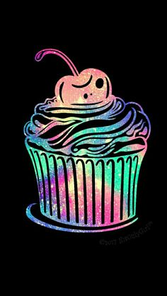 Yummy cupcake iPhone/Android galaxy wallpaper I created for the app CocoPPa!!