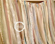 Lace backdrop - in various shades of ivory, cream, white, pink & blue. Torn and rag tied - edges are meant to fray.  Perfect for accenting bedroom, dorm room, window treatments, shower curtain, ceremony stage, cake table, doorways, drape between trees or use as your photo booth background. Other garland uses: Special Events - bridal shower, baby shower, birthday parties, graduations, retirement parties, engagement photos. Home Decor - Window Treatments, Cabana or Porch Drapes, Shower…
