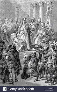 Digital improved reproduction, The Coronation of Hugues Capet, Hugh Cape, the King of the Franks from 987 to Die Krönung von Hugo Capet zum König der Franken von 987 bis from an original print from the year 1855 Stock Photo Hugues Capet, King, Stock Photos, The Originals, Digital, Illustration, Painting, Image, Art