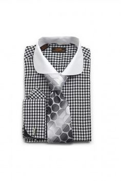 Dress Shirt by Steven Land Spread Collar French Cuff BLK/WHT Houndstooth DS1131BK