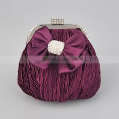 Grape Fully Crinkled Satin Evening Clutch with Bow and Rhinestone
