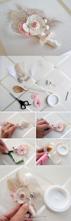 DIY a fabric flower and feather corsage!!