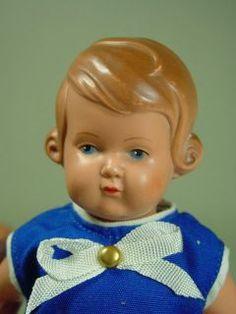 P466 / alte Schildkröt Puppe Inge Celluloid Puppenstube um 1950 ca.19
