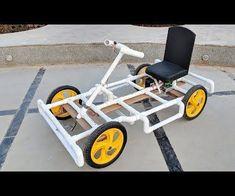 How to Make a Go kart / Electric car using PVC pipe at Home - car - DIY Diy Electric Car, Electric Go Kart, Electric Motor, Pvc Pipe Crafts, Pvc Pipe Projects, Welding Projects, Homemade Go Kart, Diy Go Kart, Vw Passat