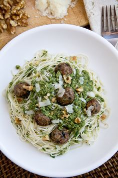 Angel Hair Pasta with Mini Meatballs and Green Pesto