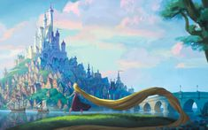 Days passed, and Rapunzel and Flynn managed to escape their pursuers. One morning, Rapunzel saw a breathtaking sight: a beautiful kingdom with a castle sitting high above. She headed straight to it!
