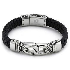 Braided Black Leather Men's Bracelet Stainless Steel: Jewelry