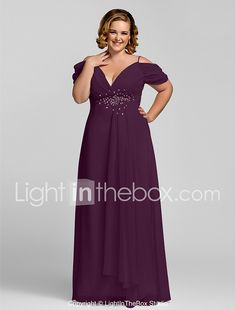 31d99c81d21 Plus Size Sheath   Column Spaghetti Strap Floor Length Chiffon Open Back  Prom   Formal Evening Dress with Beading   Crystals by TS Couture®