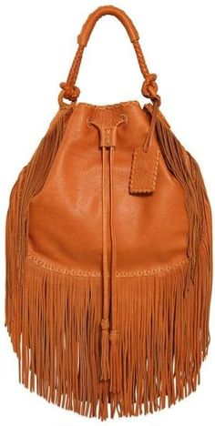 Ralph Lauren Multi Fringes Grained Leather Hobo Bag