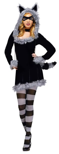 Racy Raccoon Ladies Costume - Calgary, Alberta. Not only is this Raccoon costume warm, its great for animal themes, dress the whole family up we have some styles in kids and teens too! Trick or treat the trashcans this Halloween! Just kidding...don't. Need a masked bandit outfit? Your friendly neighbourhood racoon isn't such a bad gal, or is she?  This racoon costume is a one piece pullover dress made from stretch velvet and has fuzzy trim on the wrists and hem and bust.
