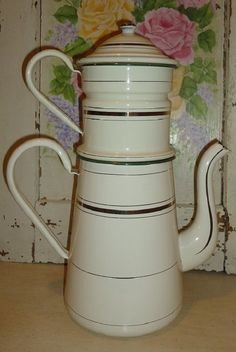 Large Antique Classic French Enamel Biggin Coffee Pot Cream with Gold Bands | eBay