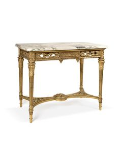 Buy online, view images and see past prices for Louis XVI Style Gilt Wood Marble Top Center Table. Invaluable is the world's largest marketplace for art, antiques, and collectibles. Antique Auctions, Center Table, Louis Xvi, Marble Top, Rococo, Entryway Tables, Victorian, Antiques, Wood