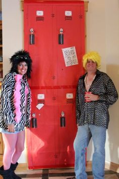 """Fun """"locker"""" backdrop for pictures! Made from a large piece of paper draped over a chest. Mystery Dinner Party, 80s Prom, Back To The 80's, Prom Night, Locker, Fundraising, Classroom Ideas, Dinner Ideas, Birthdays"""