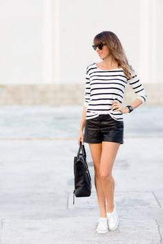 3 WAYS TO STYLE LEATHER SHORTS |   Read more - http://www.stylemepretty.com/living/2013/07/25/3-ways-to-style-leather-shorts/