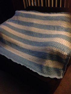Blue & White Crocheted Blanket by:  Bobbie Jean Clow at:  Bobbie World of Crocheted Blankets Http://www.bobbieworldofcrochetedblankets.com