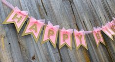 Pink & GOLD birthday party banner Garland birthday by PoshMyParty