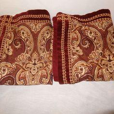 2 Pillow Shams King Size Floral Burgundy Gold Royal Heritage Royal Velvet  #RoyalHeritage #Traditional