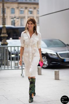 button down shirt dress with tropical print boots
