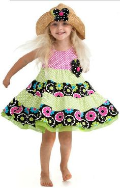 Peaches n Cream Hot Pink Lime Flower Tiered Dress Girls 4-6X - Color Me Happy Boutique