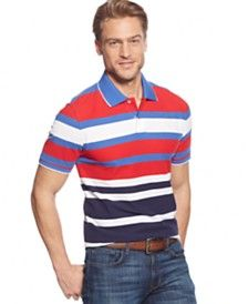Club Room Big and Tall Striped Tipped-Collar Performance Polo