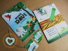 Convite infantil colorido safari diferente