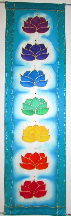 Chakra wall hanging' Crystal Lotuschakra art by HeavenOnEarthSilks, $95.00
