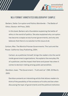 MLA Format Annotated Bibliography Sample by Bibliography Samples