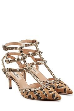 Valentino - Rockstud Leather and Pony Hair Kitten Heels | STYLEBOP.com