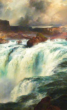 Shoshone Falls on the Snake Gilcrease Museum,Tulsa,Oklahoma by Thomas Moran. Landscape Art, Landscape Paintings, Thomas Moran, Hudson River School, Tulsa Oklahoma, Traditional Landscape, Western Art, Cool Artwork, Waterfalls