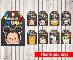 80% OFF SALE Chalkboard Tsum Tsum Thank you Tags by isaprintables