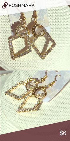 Bling-bling gold! Golden diamond dangles! Jewelry Earrings