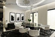 Projekt domu 140m2 Inventive Interiors - beżowo czarna jadalnia - owalny stół