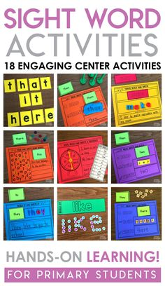 Do you need sight word activities for students for literacy centers? Read this article to learn new ways to make sight words stick. Preschool Sight Words, Teaching Sight Words, Sight Word Practice, Sight Word Games, Spelling Activities, Sight Word Activities, Teaching Activities, Hands On Activities, Grade 1 Sight Words