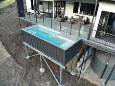 Shipping Container Pool Shipping Containers Offering Wannabe Pool Owners A Slice Of Building A Container Home, Container Buildings, Container Architecture, Container House Plans, Sustainable Architecture, Contemporary Architecture, Shipping Container Swimming Pool, 40ft Shipping Container, Shipping Container Home Designs