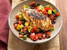 Tequila Lime Chicken with Avocado–Black Bean Salsa
