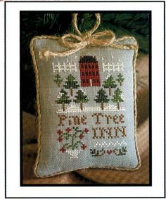 Pine Tree Inn - 2011 Ornament of the Month No. 6 - cross stitch pattern by Little House Needleworks