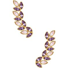 Eddera Women's Amethyst & Rose Quartz Ear Climber ($129) ❤ liked on Polyvore featuring jewelry, earrings, multi, amethyst jewellery, rose quartz jewelry, eddera jewelry, eddera and 18k jewelry