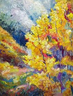 Artists Of Texas Contemporary Paintings and Art - New Colorado Aspen Tree Oil Painting by Niki Gulley