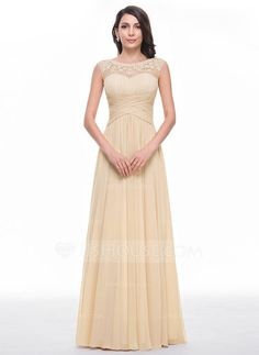A-Line/Princess Scoop Neck Floor-Length Chiffon Prom Dress With Ruffle Beading Flower(s) (018056791) - JJsHouse