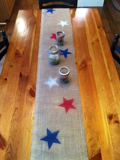 Burlap Table Runner Patriotic by LifeofaCaptainsWife on Etsy, $12.00