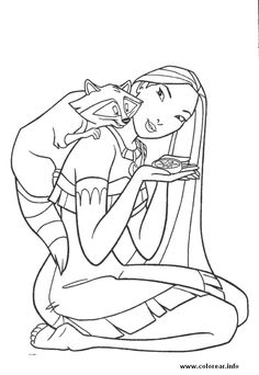 Pocahontas and Meeko coloring book.  Printable coloring pages for kids