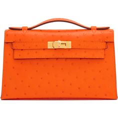Pre-Owned Hermes Tangerine Ostrich Exotic Orange Kelly Pochette Clutch... ($20,500) ❤ liked on Polyvore featuring bags, handbags, tangerine, special occasion handbags, pre owned handbags, colorful handbags, orange handbags and cocktail purse